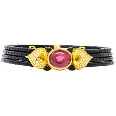 Marina B. 'Bulgari' 27.50 Carat Tourmaline Citrine Diamond Onyx Terry Necklace