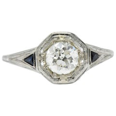 Art Deco 0.69 Carat Diamond Sapphire 18 Karat White Gold Engagement Ring GIA
