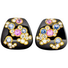 Marina B 'Bulgari' 6.80 Carat Sapphire Diamond Enamel 18 Karat Gold FU Earrings