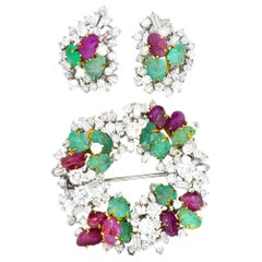 Emil Meister Retro 11.90 Carat Diamond Ruby Emerald 18 Karat Brooch Earrings
