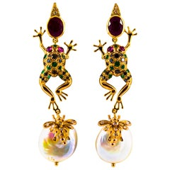 6.00 Carat Emerald Blue Sapphire Ruby Diamond Yellow Gold Pearl Drop Earrings
