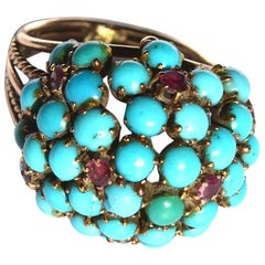Antique Victorian 14 Karat Ruby and Turquoise Ring