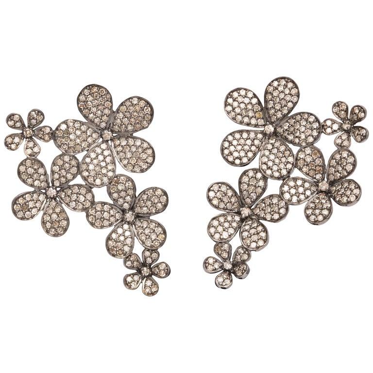 Diamond Flower Cluster Earrings For Sale