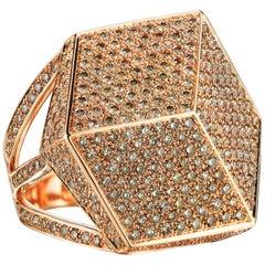 18 Karat Rose Gold Champagne Diamond Brillante Cocktail Ring