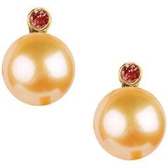 Fei Liu 18 Karat Yellow Gold Pearl Stud Earrings with Red Garnet