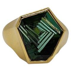 4.38 Carat Tourmaline Atelier Munsteiner Ring Yellow Gold