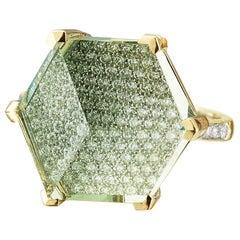 18 Karat Yellow Gold Green Amethyst and Diamond Brillante Valentina Ring