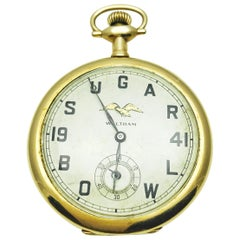1941 Waltham Gold Filled 17 Jewel Open Faced Sugar Bowl Pocket Watch