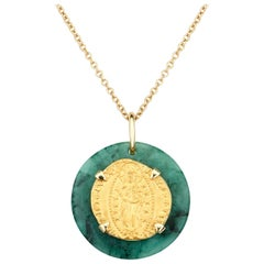 Dubini Ancient Venetian Ducat Coin Emerald Medallion 18 Karat Gold Necklace