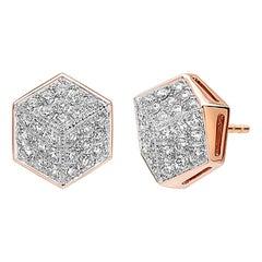 18 Karat Rose Gold Diamond Brillante Stud Earrings