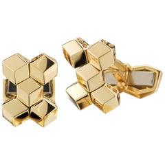 18 Karat Yellow Gold Brillante Cufflink Set, Petite