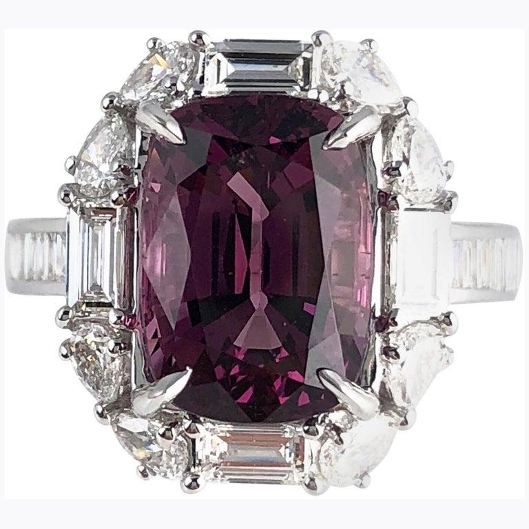 2.80 Carat Cushion Cut Raspberry Garnet and Diamond Halo Cluster Ring For Sale