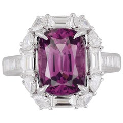 4.92 Carat Cushion Cut Raspberry Garnet and Diamond Halo Cluster Ring