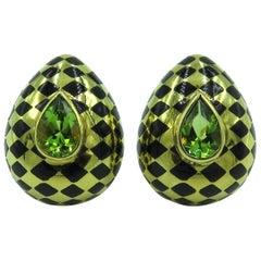 Angela Cummings Black Jade, Peridot and Gold Earrings