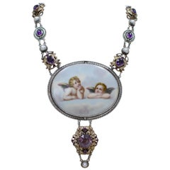 Jill Garber 19th Century Sistine Madonna Angels Modern Necklace with Amethyst