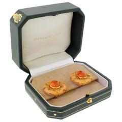 Elizabeth Gage 18 Karat 750 Gold Enamel Leaf Earrings Hessonite Garnet