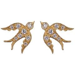 Blackbird and the Snow - Diamond Gold Bird Stud Swallow Earrings Vogue