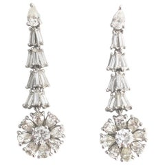 4.98 Carat Diamond Flower Dangle Studs in 18 Karat White Gold