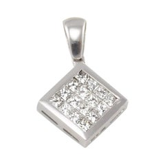 1.15 Carat Total Invisible Set Princess Cut Diamond Pendant