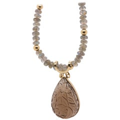 66.63 Carat Carved Smokey Quartz and Labradorite Necklace