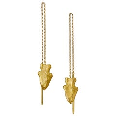 Wendy Brandes Arrowhead Threader Drop Gold Earrings