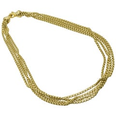 David Yurman Gold Multi Chain Necklace in 18 Karat Yellow Gold