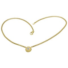 David Yurman Yellow Gold Cookie Necklace 0.10 Carat Pave Diamond