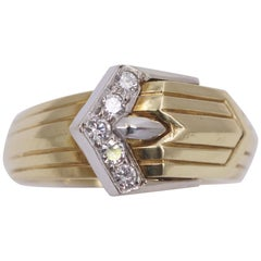 Modern Two-Tone Gold and Diamond Buckle Ring