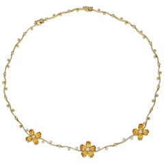 5.00 Carat Citrine Flower Necklace