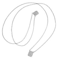 0.79 Carat Pave Diamond Scapular 18 Karat White Gold Necklace