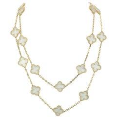 Van Cleef & Arpels Rock Crystal 20 Motif Alhambra Necklace Custom Made