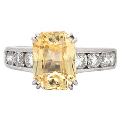 3.86 Carat Yellow Sapphire and Diamond Platinum Cocktail Ring