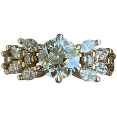 1.5 Carat Approximate, Round Center Marquise Side Diamond Pave Ring, Ben Dannie