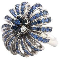 Stefan Hafner Diamond and Sapphire White Gold Middle Finger Ring