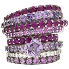 Stefan Hafner Pink Sapphire, Ruby and Diamond Stacking Ring