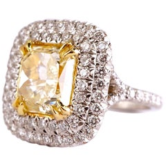 GIA Certified 3.52 Carat Fancy Yellow Radiant Diamond Engagement Ring