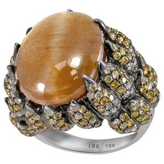 Tiger Eye Ring Natural Stone with Fancy Colored Diamonds in 18 Carat White Gold