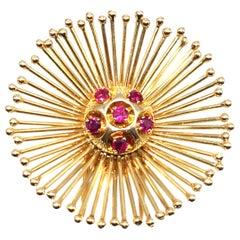 Cartier Paris Retro Ruby 18 Karat Gold Starburst Brooch