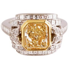 GIA Certified Fancy Yellow Radiant 2.23 Carat Diamond Cocktail Platinum Ring