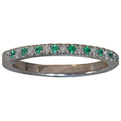 Round Green Emerald and Diamond Eternity Band Platinum