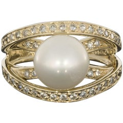 Yellow Gold Akoya Pearl and .50 Carat Diamond Split Shank Ring
