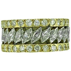 6.33 Carat TW Diamond Estate Eternity Band, Wedding Band White and Yellow Gold