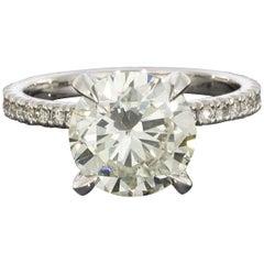 Platinum 3.36 Carat Round Diamond GIA Certified Engagement Ring