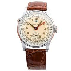 Ernest Borel Calendar Triple Date Watch in Stainless Steel, circa 1950s