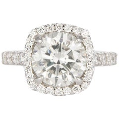EGL Hearts & Arrows 18K White Gold & Diamond Halo Engagement Ring 4.00ctw H/SI1
