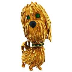 French 18 Karat Yellow Gold Enamel Onyx Dog Brooch