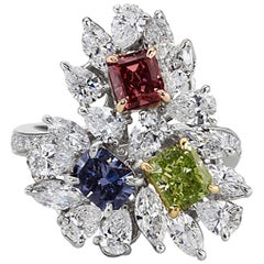 Platinum & 14k Gold GIA Certified Fancy Color Red Blue & Green Diamond Ring