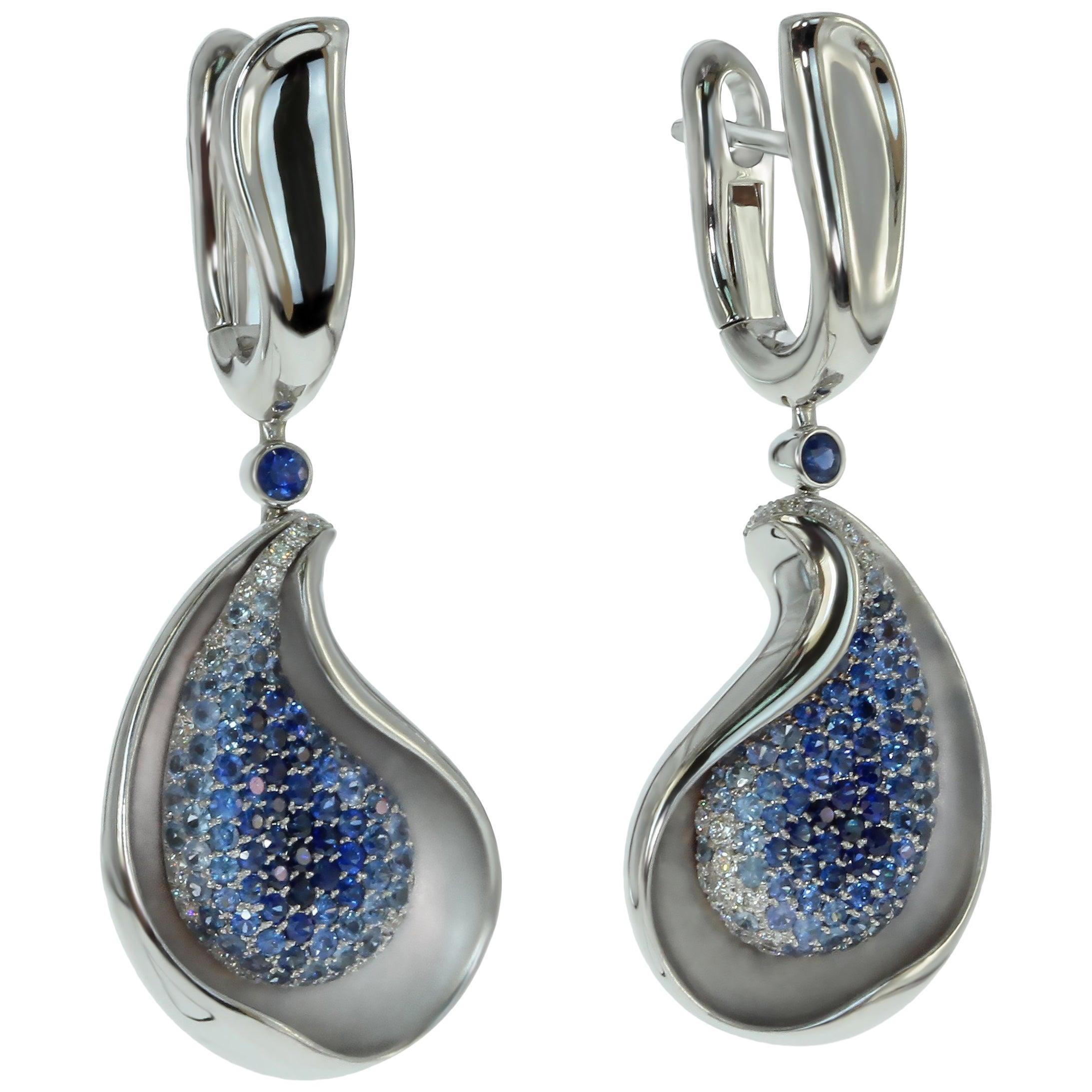 Diamond Blue Sapphire 18 Karat White Gold Earrings