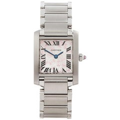 2000's Cartier Tank Francaise Anniversary Stainless Steel Wristwatch