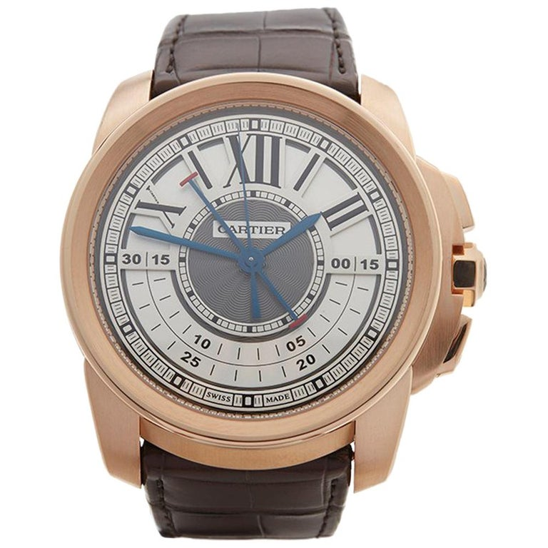 2017 Cartier Calibre Central Chronograph Rose Gold 3242 or W7100004 Wristwatch For Sale